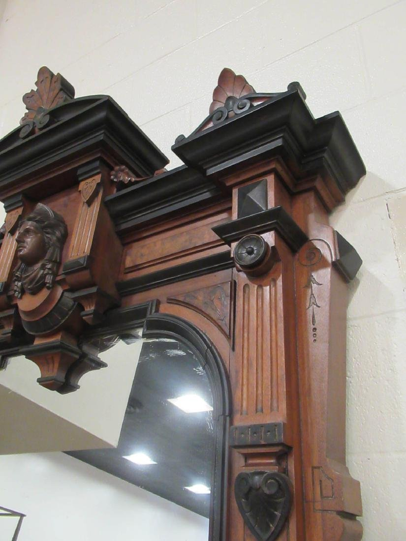 Carved, Burled and Ebonized Walnut Pier Mirror - 5