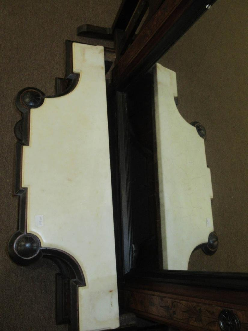 Carved, Burled and Ebonized Walnut Pier Mirror - 8
