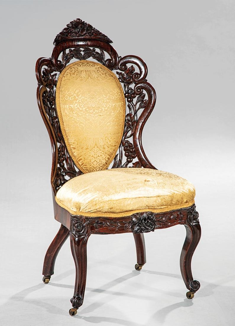 Carved and Laminated Rosewood Side Chair, Belter