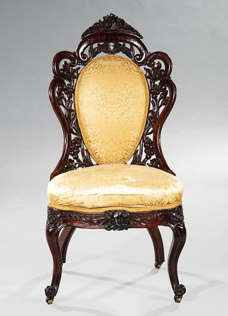 Carved and Laminated Rosewood Side Chair, Belter - 2