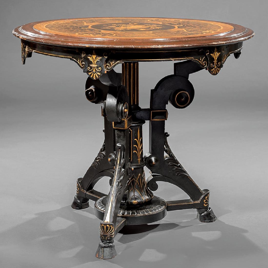 Carved, Ebonized Gilt-Incised and Marquetry Table