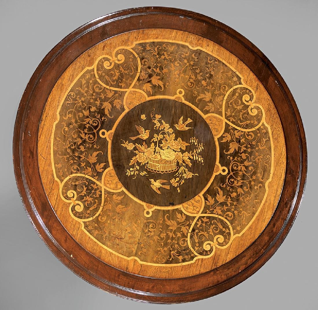 Carved, Ebonized Gilt-Incised and Marquetry Table - 2