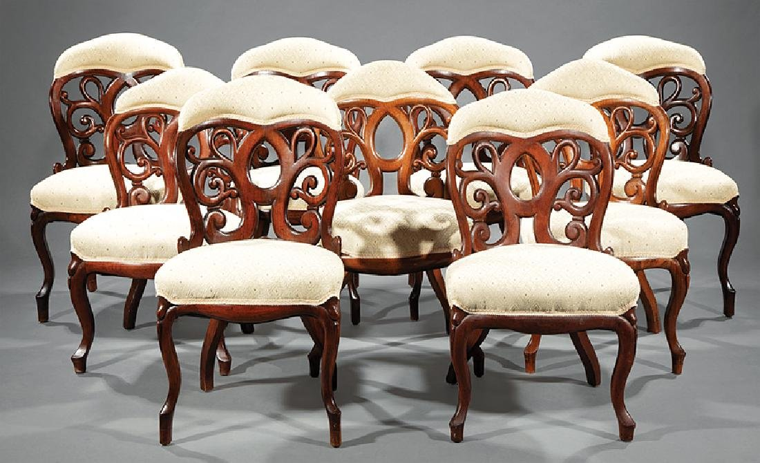 Carved and Laminated Rosewood Dining Chairs, Belter