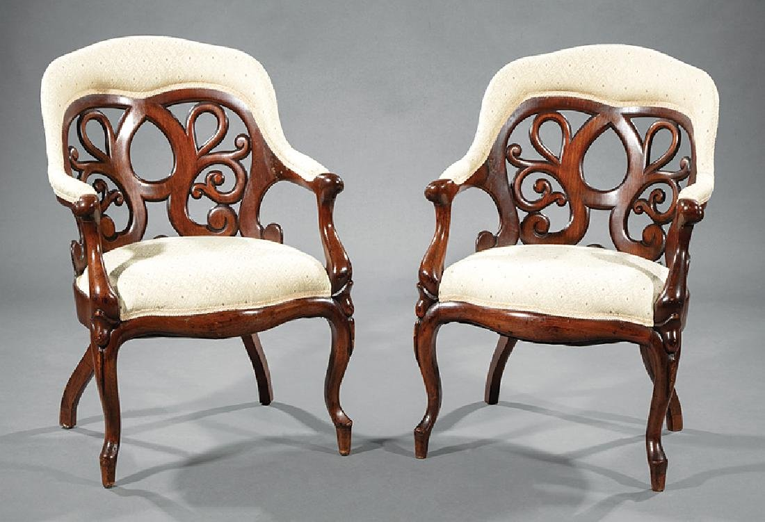 Carved and Laminated Rosewood Dining Chairs, Belter - 2
