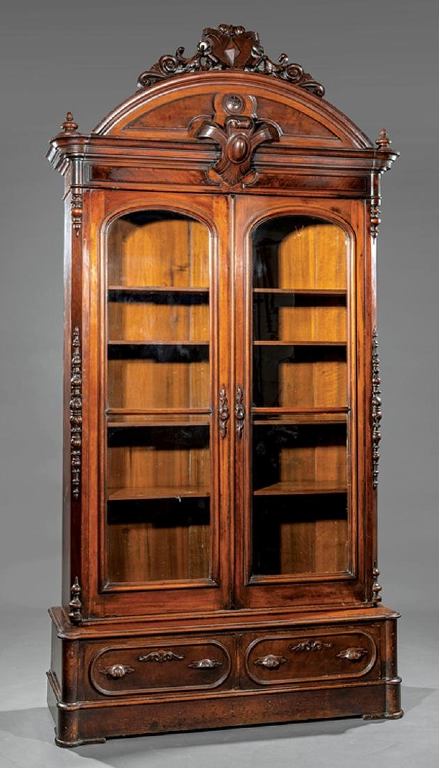 American Renaissance Carved Walnut Bookcase