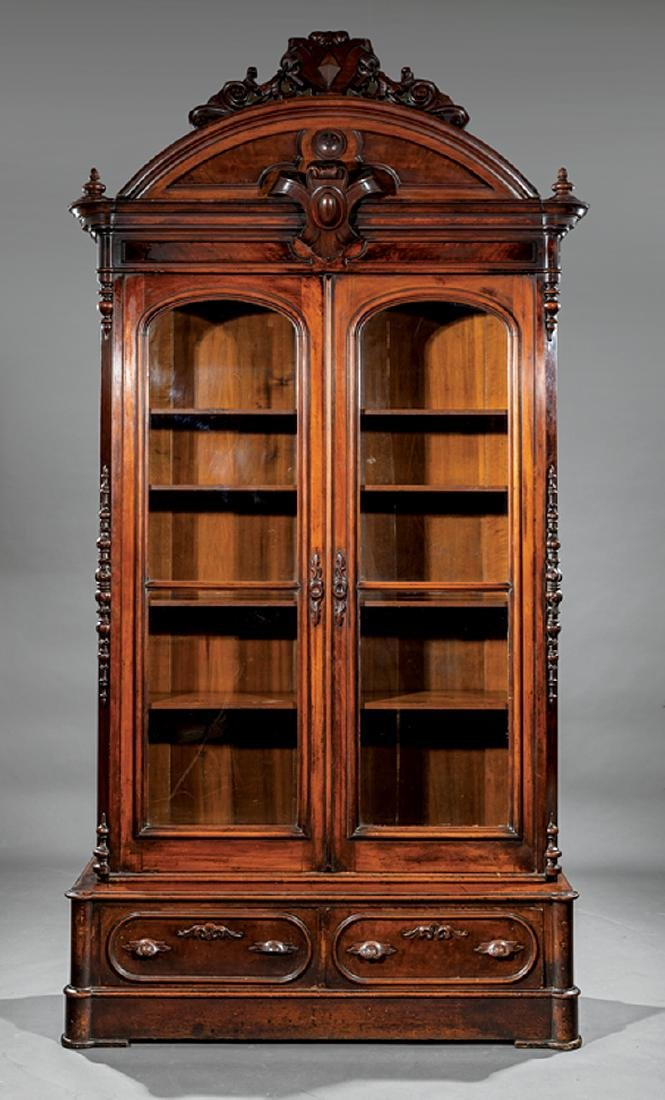 American Renaissance Carved Walnut Bookcase - 2