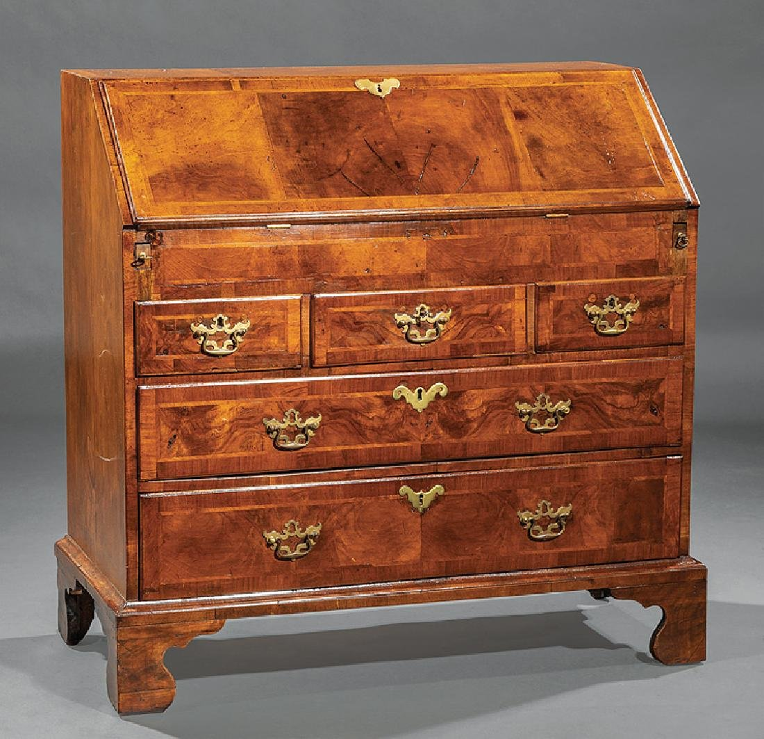 George III-Style Inlaid Walnut Slant-Front Desk
