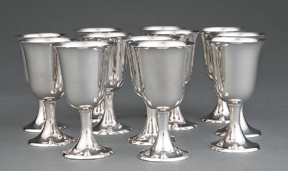 Twelve Gorham Sterling Silver Wine Goblets