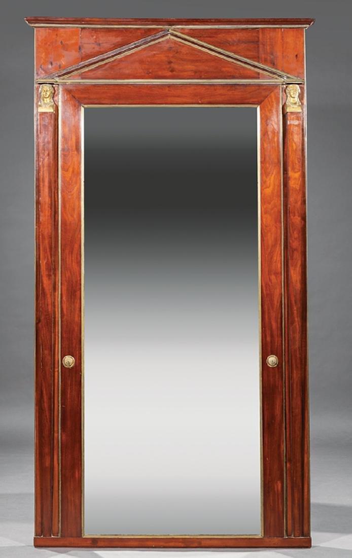 French Empire Mahogany Overmantel Mirror