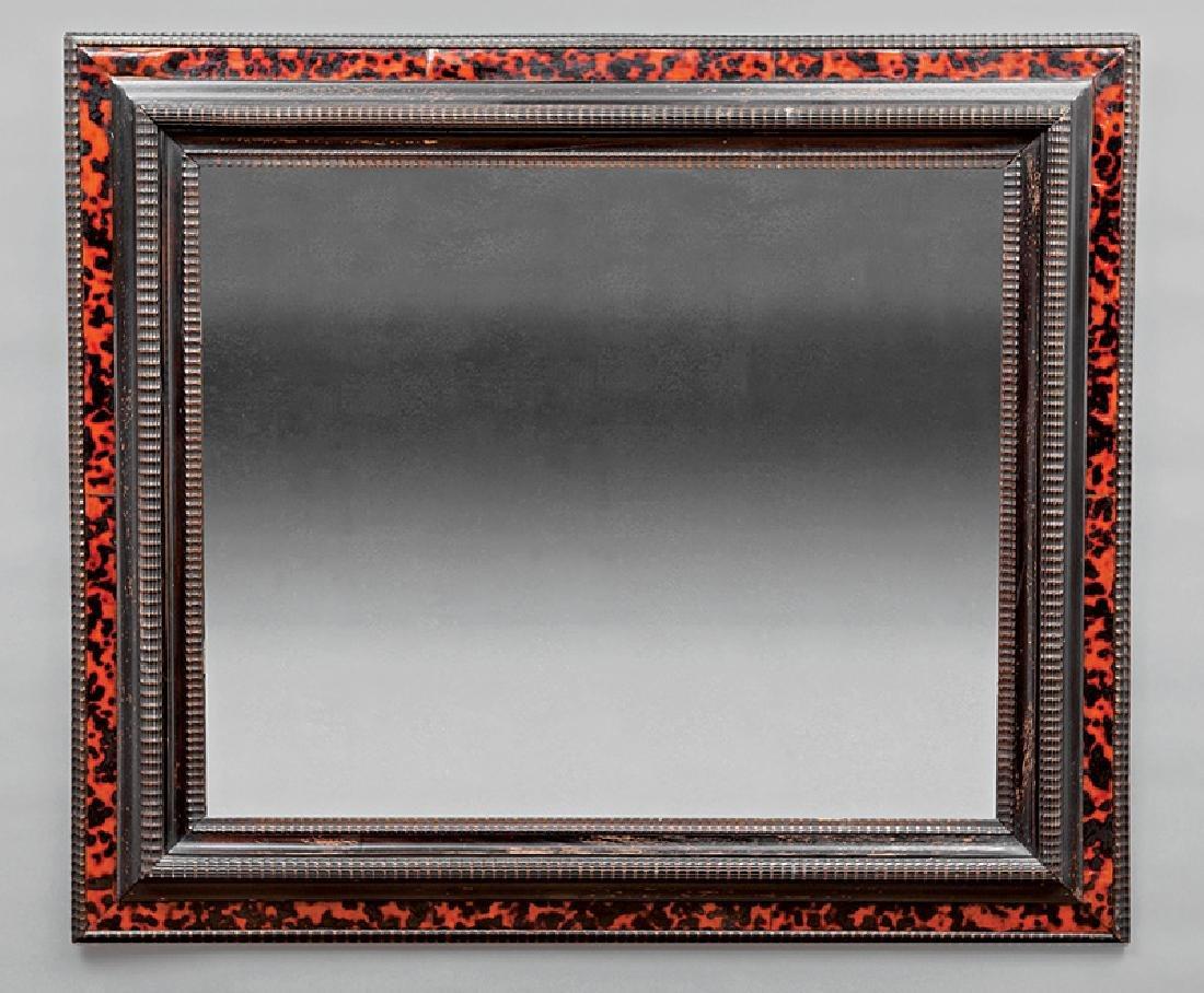 Continental Ebonized and Tortoiseshell Mirror