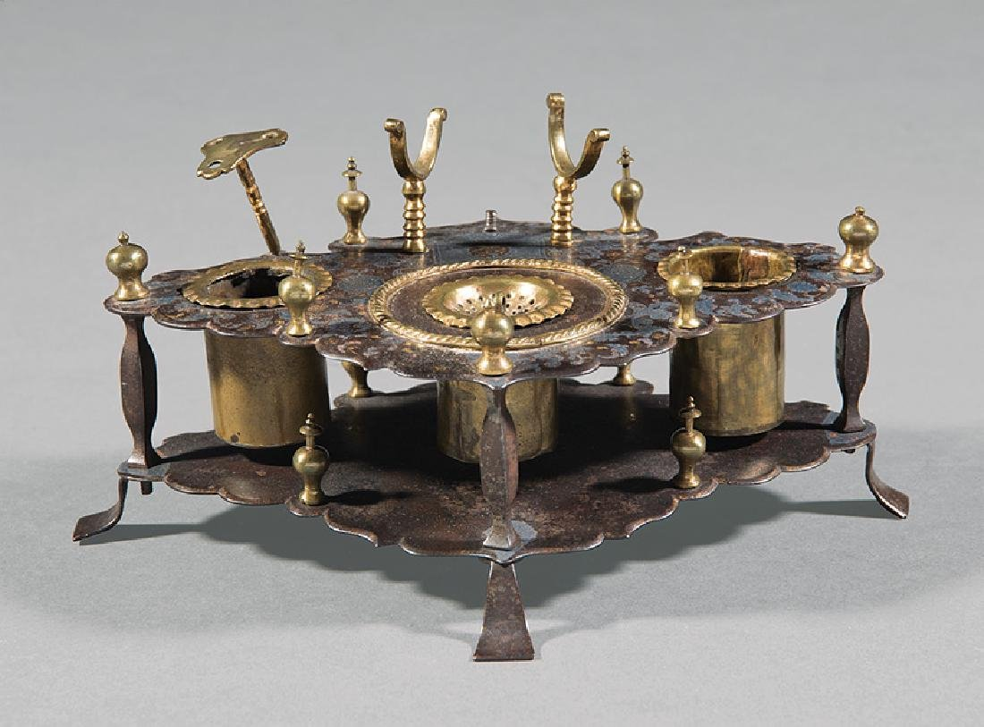 "Spanish ""Toledo"" Steel, Brass and Gilt Inkwell"