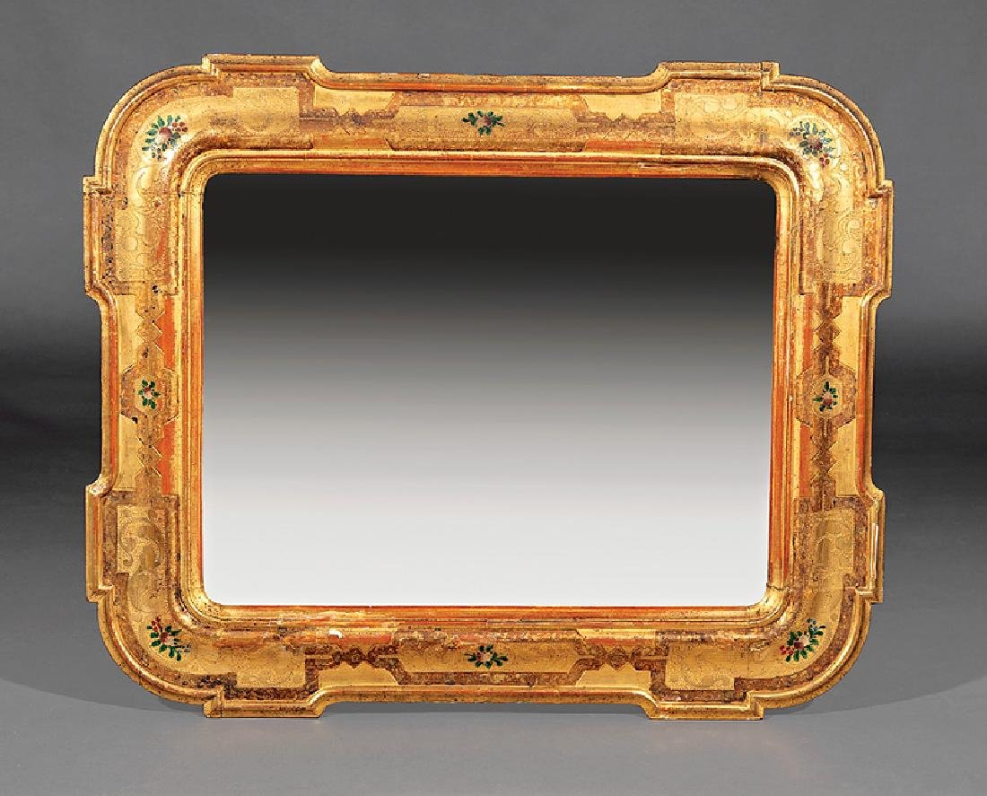 French Polychrome and Gilt Mirror