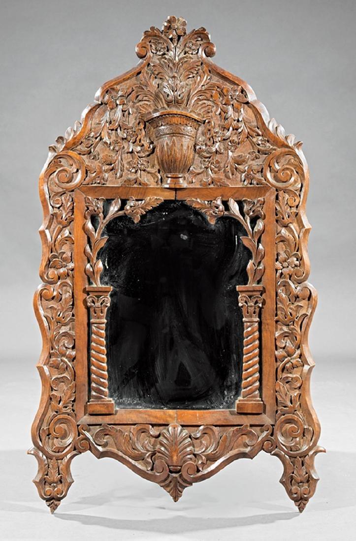 Spanish Baroque-Style Carved Walnut Mirror