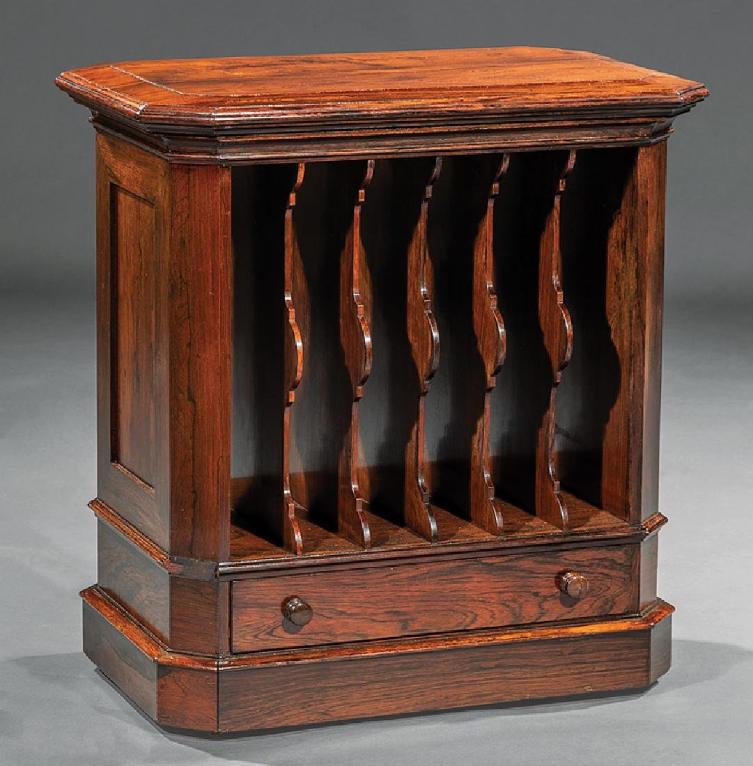 American Late Classical Carved Rosewood Canterbury