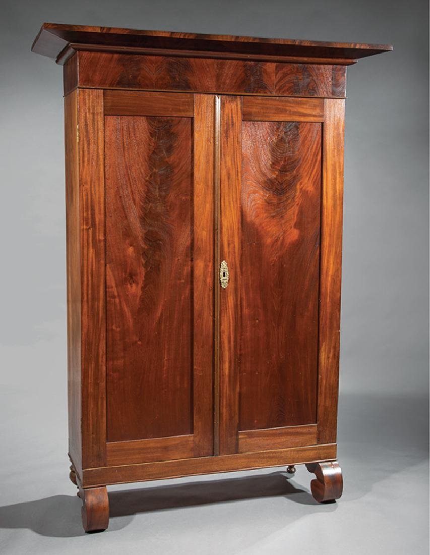 Southern Late Classical Figured Mahogany Armoire