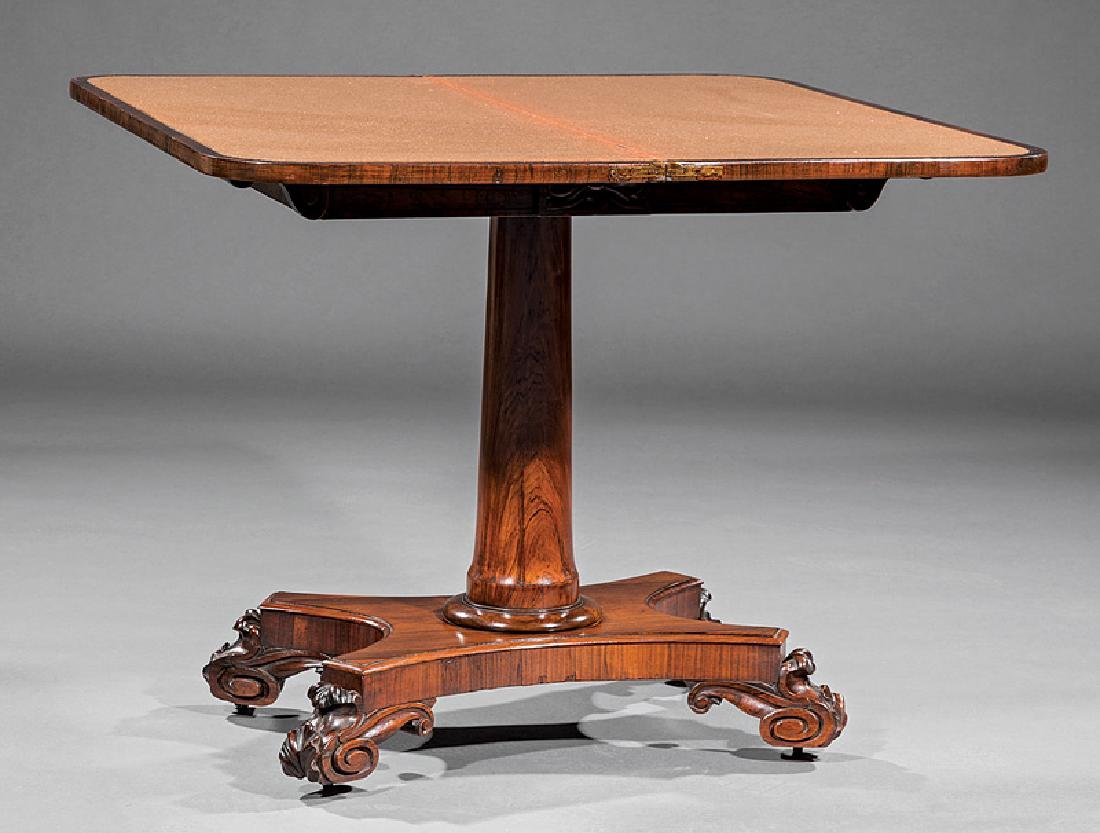William IV Carved Rosewood Games Table - 2