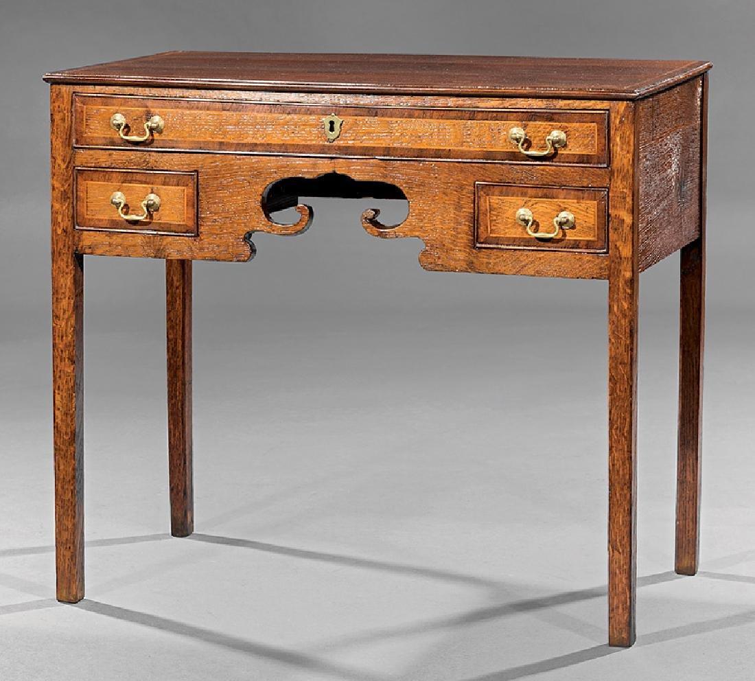 George III-Style Inlaid Oak Lowboy