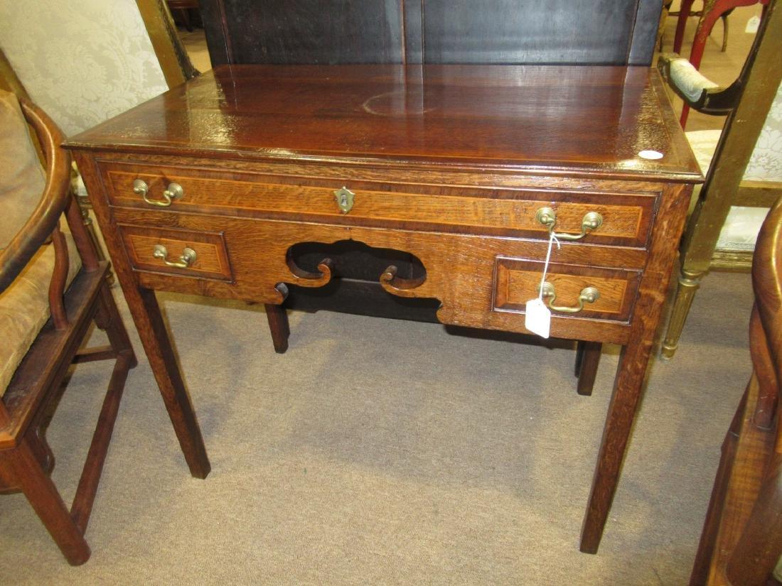 George III-Style Inlaid Oak Lowboy - 2