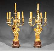 Pair Beaux Arts Gilt Bronze Marble Figural Candelabra