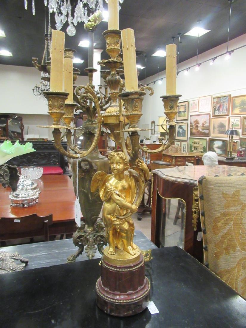 Pair Beaux Arts Gilt Bronze Marble Figural Candelabra - 2