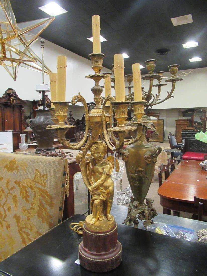 Pair Beaux Arts Gilt Bronze Marble Figural Candelabra - 3