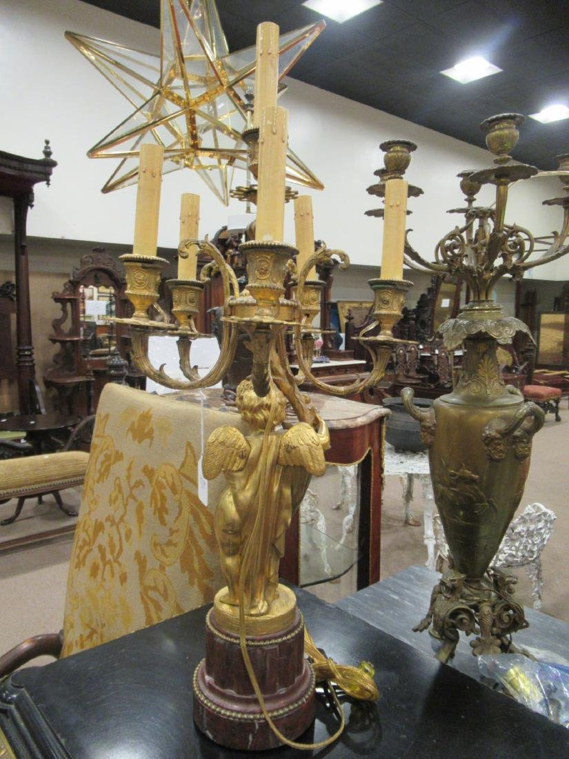 Pair Beaux Arts Gilt Bronze Marble Figural Candelabra - 4