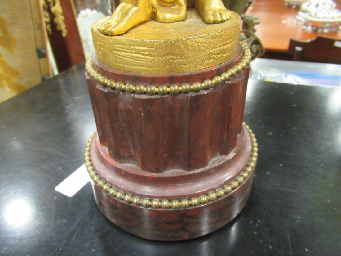 Pair Beaux Arts Gilt Bronze Marble Figural Candelabra - 6