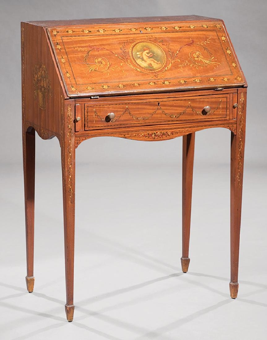 Edwardian Painted Satinwood Slant-Front Desk