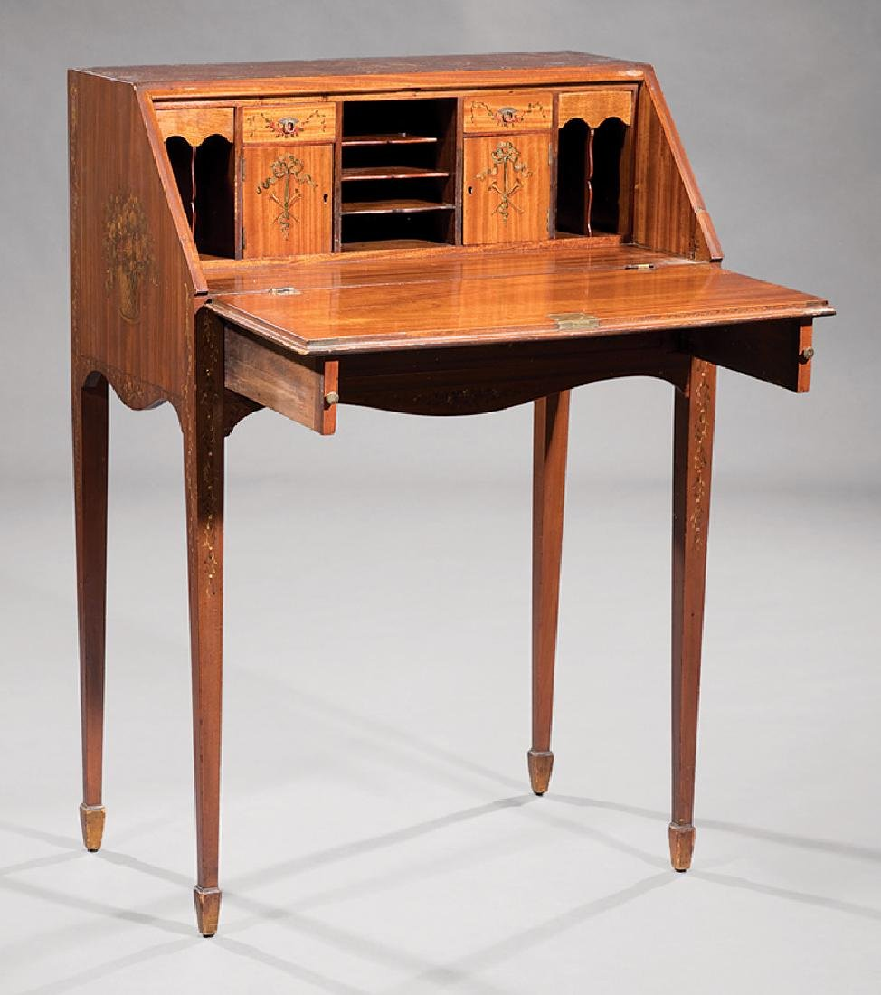 Edwardian Painted Satinwood Slant-Front Desk - 2