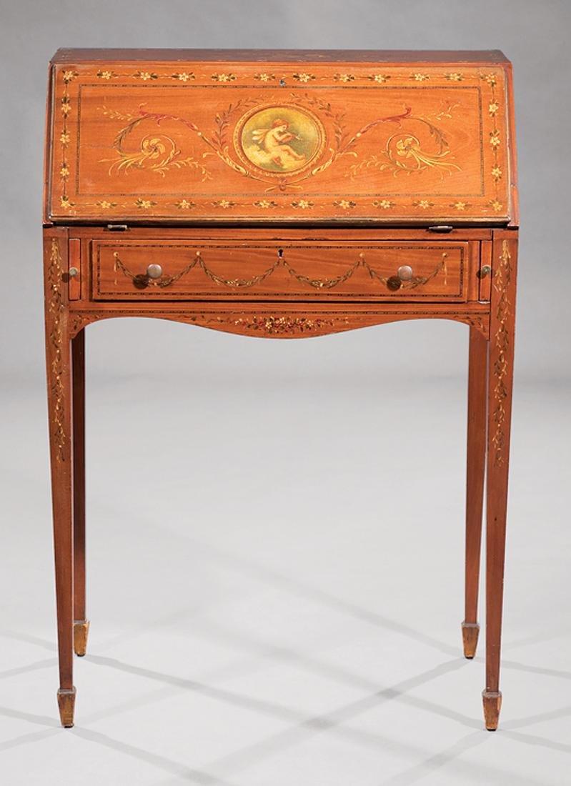 Edwardian Painted Satinwood Slant-Front Desk - 3
