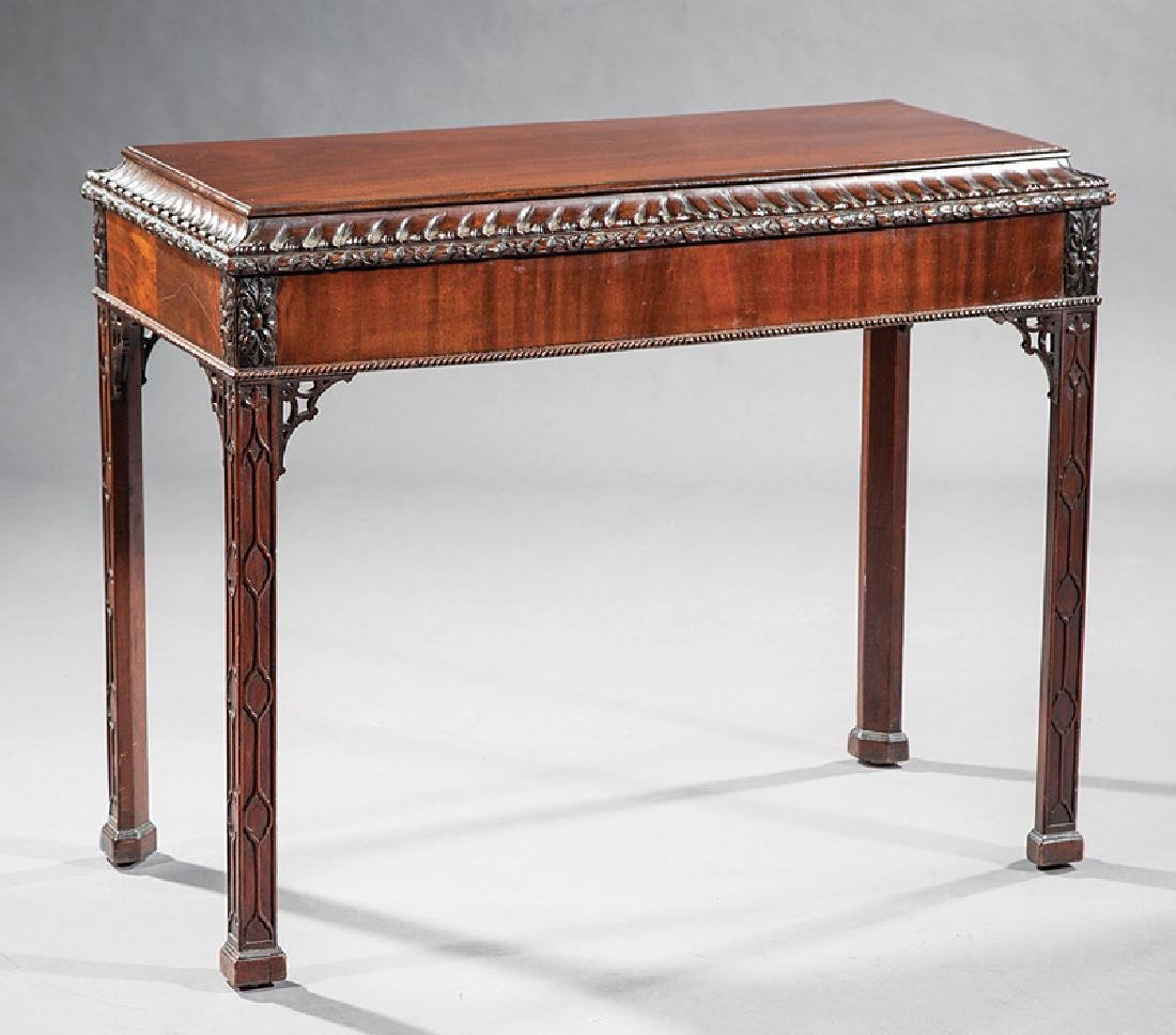 Chippendale-Style Carved Mahogany Console Table