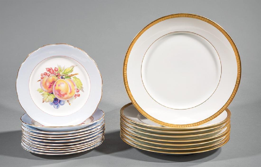 Eleven English Porcelain Fruit Plates