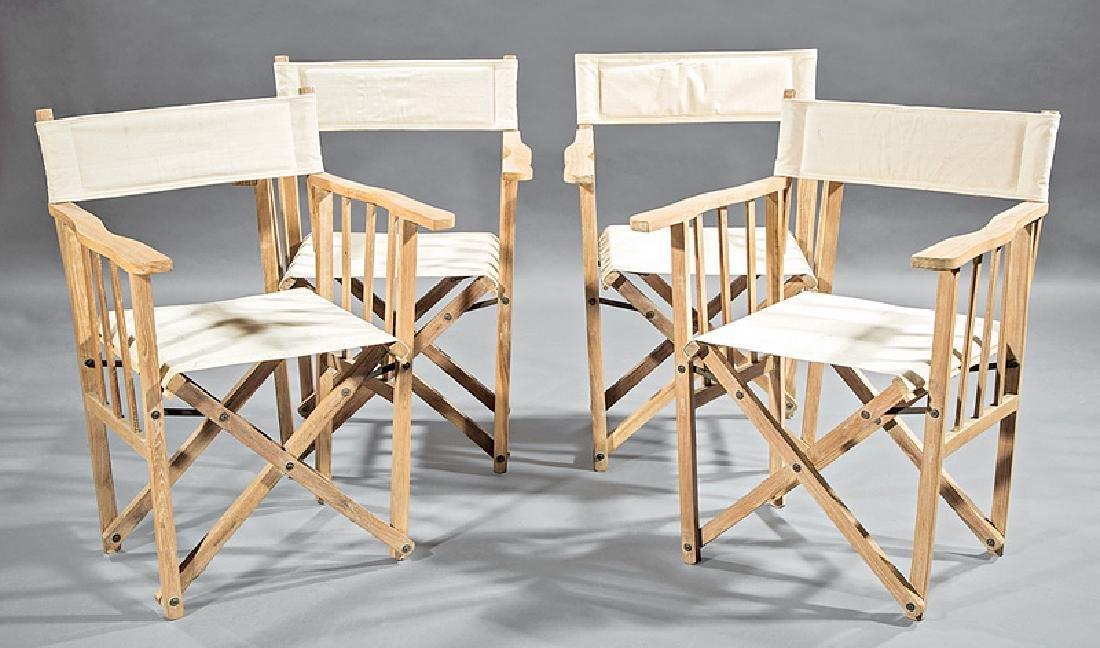 Four Teakwood Folding Captain's Chairs