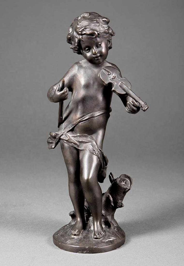 Patinated Bronze Figure of Putto with Violin