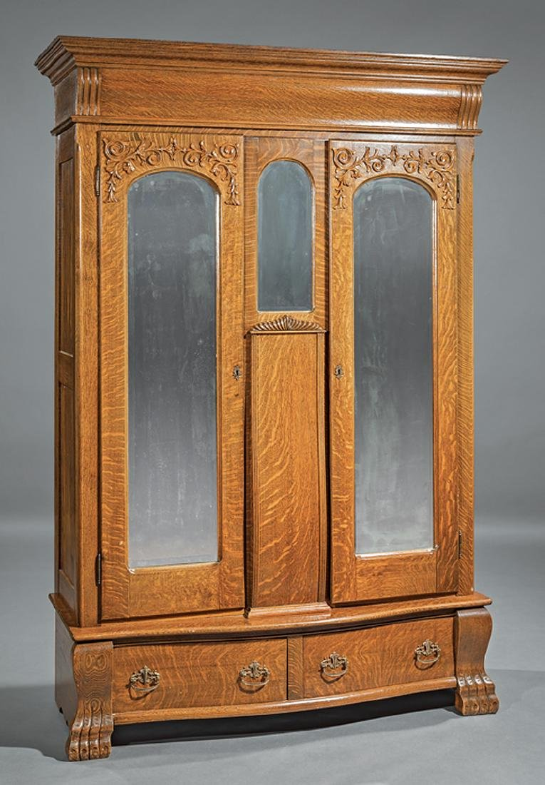American Carved Oak Armoire