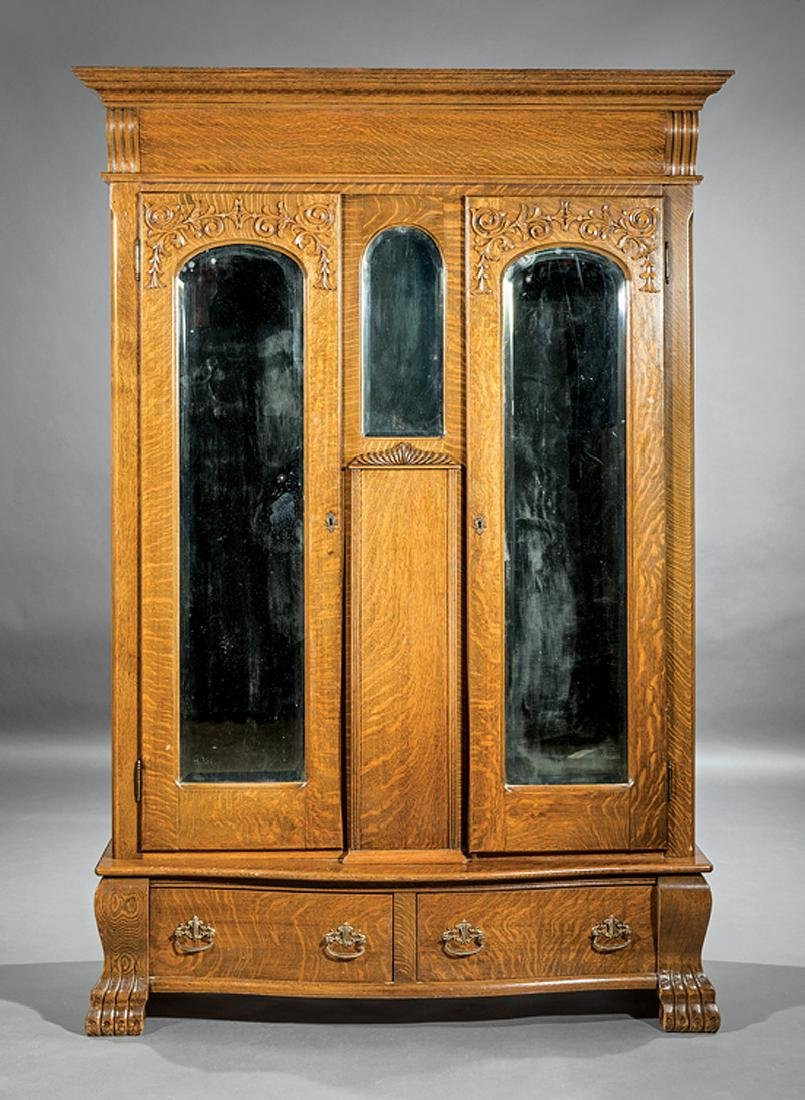 American Carved Oak Armoire - 2
