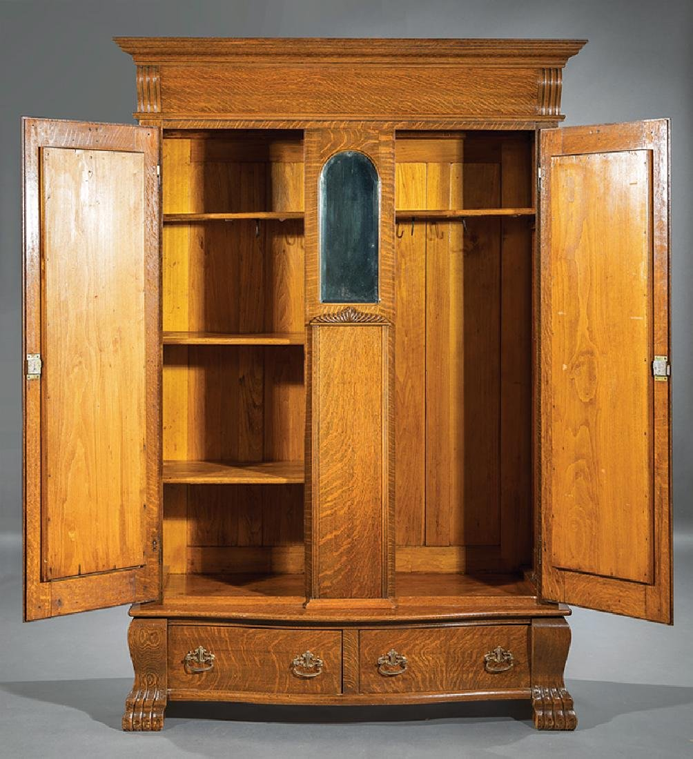 American Carved Oak Armoire - 3