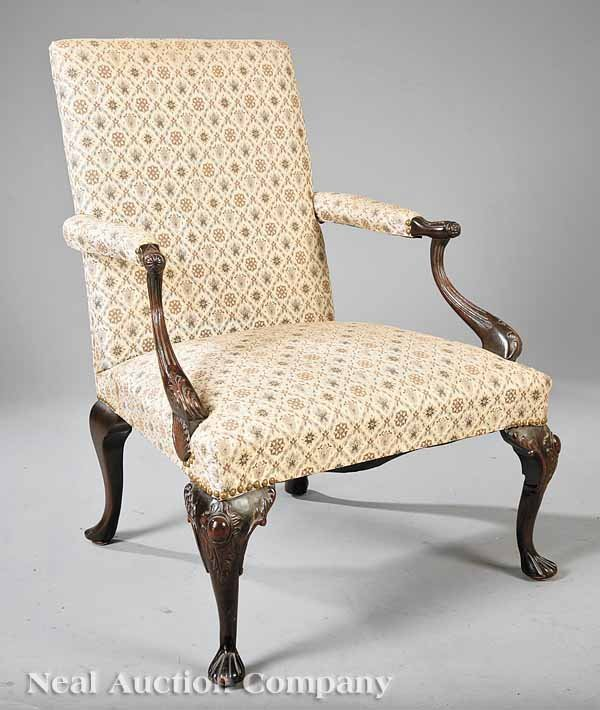 3: Chippendale-Style Carved Mahogany Library Chair