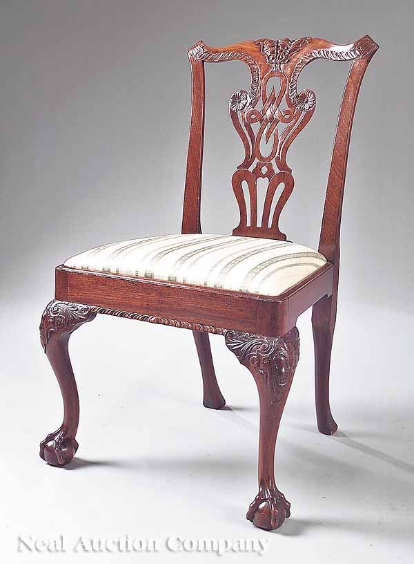 4: George III-Style Carved Mahogany Side Chair