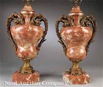 257 Pair Rouge Royale Marble Gilt Bronze Urns