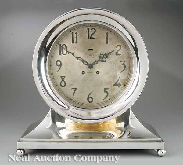 264: Silvered Brass Ship's Bell Mantel Clock, Chelsea