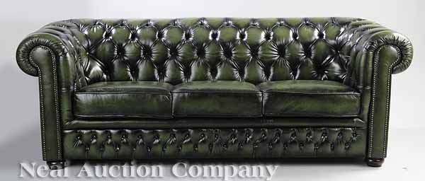 0620: Green Chesterfield Sofa
