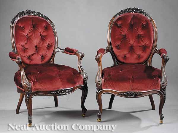 0624: Near Pair of French Rosewood Fauteuils