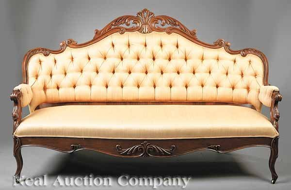 0633: English Carved Rosewood Settee