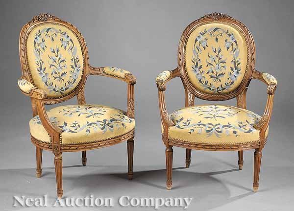 0636: Pair of Louis XVI-Style Carved Fauteuils