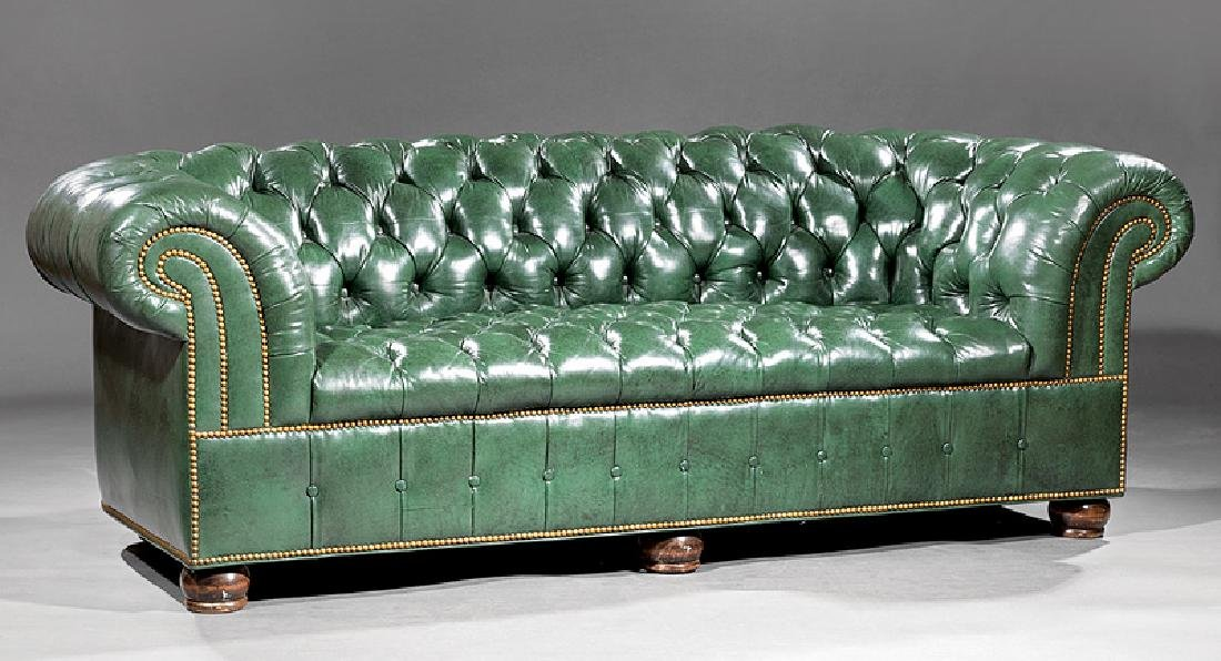 Admirable Vintage Green Leather Chesterfield Sofa Machost Co Dining Chair Design Ideas Machostcouk