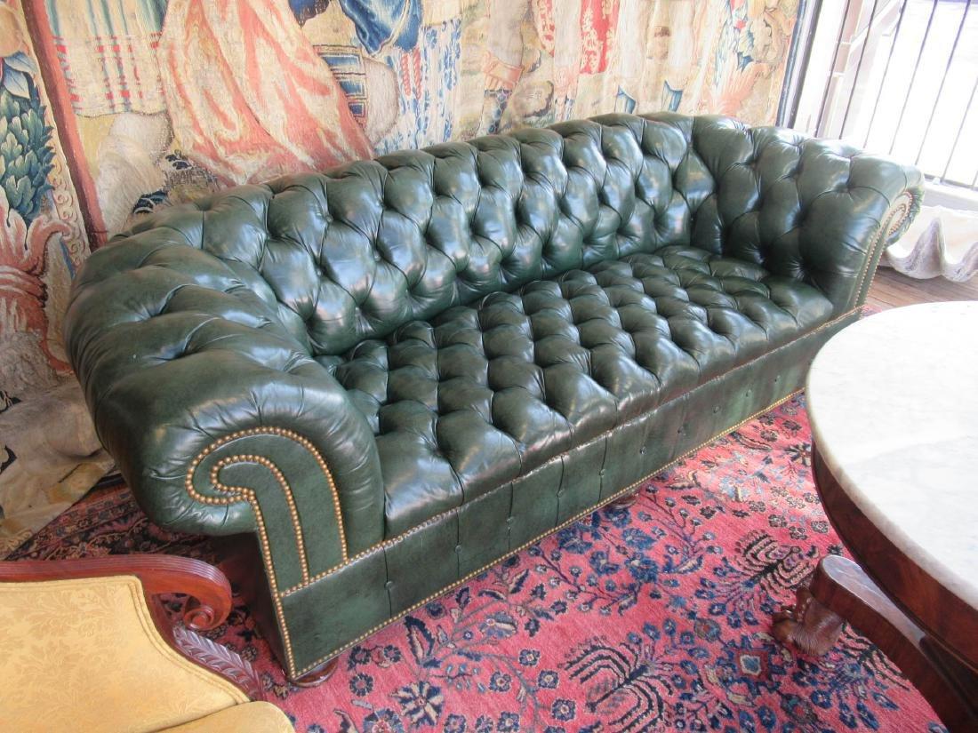Vintage Green Leather Chesterfield Sofa - 3