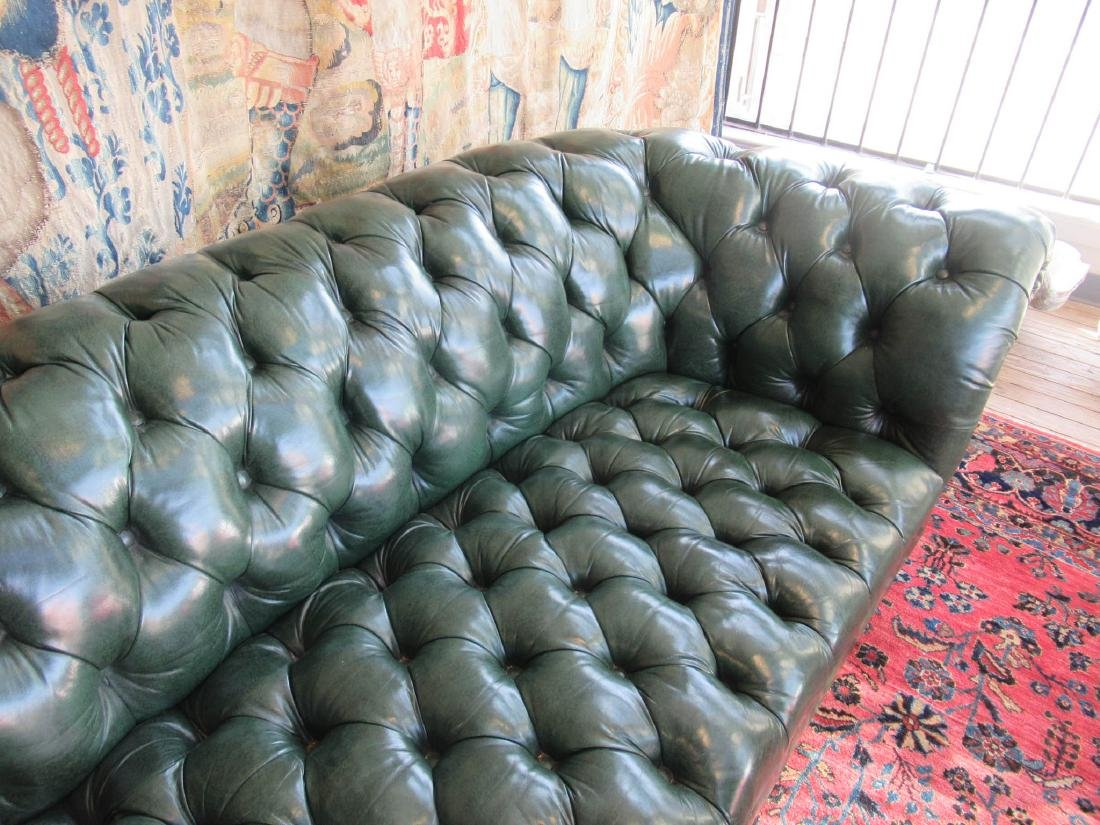 Vintage Green Leather Chesterfield Sofa - 4