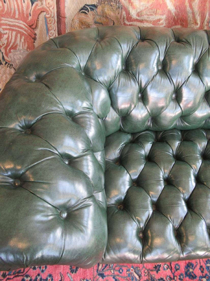 Vintage Green Leather Chesterfield Sofa - 5