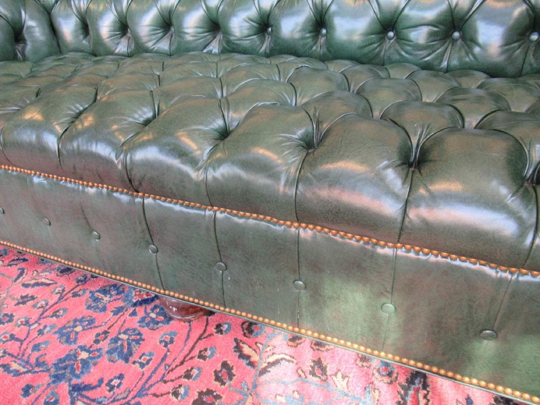 Vintage Green Leather Chesterfield Sofa - 6